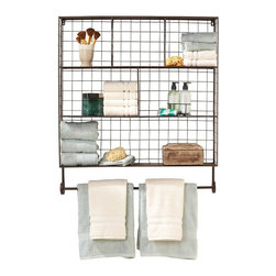 Home Decorators Collection - Owen Metal Wall Rack - Our Owen Metal Wall Rack displays your mementos with classic charm. The open, wire construction puts the focus on your decorative items. The top shelf is segmented into three compartments; the second shelf has two compartments; and the bottom shelf is full wide. Scrolling finials support a lower rod on which you can display a banner or tea towel. Iron with red/brown finish. Three shelves and lower hanging bar. Holds up to 4 pounds. Keyhole hangers tether shelf to wall.