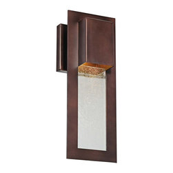 "Lamps Plus - Contemporary Minka Westgate 13"" High Bronze Outdoor Wall Sconce - Warm alder bronze finish graces a rectangular frame that hangs down with a center of beautiful clear seeded glass. Create a visual display of warm light on a porch or on a wall along an outside path. A chic sophisticated look from Minka. Minka exterior wall sconce. Alder bronze finish. Clear seeded glass. Takes one 35 watt GU10 halogen bulb (not included). 4 3/4"" wide. 13"" high. Extends 4 1/4"" from wall.  Minka exterior wall sconce.   Alder bronze finish.   Clear seeded glass.   Takes one 35 watt GU10 halogen bulb (not included).    4 3/4"" wide.   13"" high.   Extends 4 1/4"" from wall."