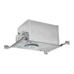 Juno Lighting Group - 4-Inch Low Voltage Recessed Can for New Construction - IC44N - This air tight, double-wall constructed low voltage-watt housing is built for new construction or ceilings with access from above. It can be completely covered with insulation and vertically adjusts to accommodate up to a 1-inch ceiling thickness. The bar hangers may be re-positioned 90 degrees. A thermally protected magnetic transformer is included, ensuring automatic shutdown if improper bulb wattage is used. Meets Washington State IECC and MEC codes and conforms with City of Chicago IP requirements. UL listed. Takes (1) 50-watt halogen MR-16 bulb(s). Bulb(s) sold separately. CSA listed. Damp location rated.