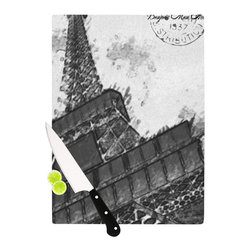 """Kess InHouse - Oriana Cordero """"Bonjour Mon Amour"""" Grey Eiffel Cutting Board (11.5"""" x 15.75"""") - These sturdy tempered glass cutting boards will make everything you chop look like a Dutch painting. Perfect the art of cooking with your KESS InHouse unique art cutting board. Go for patterns or painted, either way this non-skid, dishwasher safe cutting board is perfect for preparing any artistic dinner or serving. Cut, chop, serve or frame, all of these unique cutting boards are gorgeous."""
