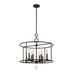 Crystorama - Crystorama 9166-EB Cameron 8 Light Chandeliers in English Bronze - You can see arts and crafts influence in our Cameron collection, but other details are inspired by more home design trends - sleek shapes, geometric motifs and pure white glass.