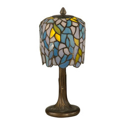 Dale Tiffany - Dale Tiffany TA11200 Wisteria Tiffany Mini Table Lamp - Delicate wisteria blossoms grow gracefully downward in this dainty accent lamp. 186 pieces of art glass in pastel shades of blue, pink, purple and green are each hand rolled and individually copper foiled. The cast metal tree trunk base is finished in antique bronze. The perfect accent lighting for a living room, bedroom, sunroom or family room, this pretty little lamp will bring sunshine and springtime into your life for years to come.
