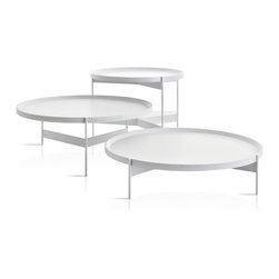 Pianca - Abaco: Modern round coffee/cocktail table. Portable tray., White Anti-Scratch, M - Modern round coffee/cocktail tables with portable trays. Finish options are metal white structure with anti-scratch lacquered white top and all chrome base and top. The tables come in three different heights and diameters and work exceptionally well together or individually. Made in Italy.