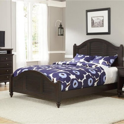 Home Styles - Bermuda Queen Low Profile Bed - Espresso Dark Brown - HMS1440 - Shop for Beds from Hayneedle.com! The Bermuda Low Profile Bed - Espresso is a fusion of classic British style and old world tropical design. Upscale yet casual this bed is a well-made beauty with mahogany solids and a blend of mahogany and albazia veneers in a deep espresso finish. Create a whole new bedroom with your Bermuda Low Profile Bed and any or all of the optional matching headboard nightstand chest and media chest. The headboard features a rounded top and laid back shutter design. A handy bedside companion the nightstand has a drawer open storage spacious top and coordinating turned feet. The chest has four drawers for ample storage space. The media chest offers four large drawers plus an open space for media components and wide top for your flat panel TV. Furniture Dimensions:Optional Queen Headboard: 63W x 3.75D x 54H in.Optional Nightstand: 22W x 16D x 28H in.Optional Chest: 36W x 18D x 36H in.Optional Media Chest: 36W x 18D x 42H in.About Home StylesHome Styles is a manufacturer and distributor of RTA (ready to assemble) furniture perfectly suited to today's lifestyles. Blending attractive design with modern functionality their furniture collections span many styles from timeless traditional to cutting-edge contemporary. The great difference between Home Styles and many other RTA furniture manufacturers is that Home Styles pieces feature hardwood construction and quality hardware that stand up to years of use. When shopping for convenient durable items for the home look to Home Styles. You'll appreciate the value.