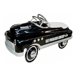 """Police Comet Black Pedal Car - License And Registration Please This Jet Black Police Car Will Help Your Little One Keep The Peace And Slow Down Speeders.   Features:  *Wrap Around Padded Seat *Chrome: Hub Caps, Steering Wheel, Port *Holes, Windshield, Hood Ornament, Front *Insignia And Headlights *Custom Water Transfer Graphics *Sealed Bearings In Wheels And Pedal Crank  *High Traction Tires  *Non Slip Pedals *Lead Free Powder Coat Paint *Five Position Adjustable Pedal Assembly *Child Safety Tested  *Ages 3-5  *(Back Of Seat To Extended Pedal 19"""" To 24"""")  *Dimensions: 34"""" L X 18"""" W X 19"""" H  *Minimal Assembly Required *Shipped Insured *Brand New!"""