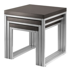 Winsome Trading, INC. - Winsome Wood 93322 Jared Nesting Table - Winsome Woods Jared line of contemporary occasional tables is made with pewter color enamel finished metal tube frames and wood tops. The 3-Piece nesting are space saving additions to active rooms in the house. The largest of the tables is 20.87-Inch H by 19-1/23-Inch L by 20-Inch D.