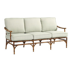 Ballard Designs - Galante Sofa - Coordinates with Galante Dining & Lounge Collections. Spa Green box cushion included. Antique Chestnut finish. Resists rust, chipping & peeling. Replacement cushions available. Requires 3 replacement cushion sets. Galante captures the inviting look of tropical rattan in virtually ageless, carefree aluminum. The Sofa frame is cast of powder coated aluminum to recreate the natural textures of hand carved rattan and then hand polished and protected with a baked-on, powder-coated finish.Galante Sofa features: . . . . . Fully assembled . Use of an outdoor furniture cover is recommended to extend the life of your piece.