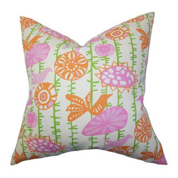 "The Pillow Collection - Nettle Floral Pillow Pink 20"" x 20"" - This quirky throw pillow lends a fun vibe to your living space. A combination of floral and animal prints are highlighted in this square pillow. Measures 20"", this decor pillow perfectly fits most furniture, including couches, beds and seats. A vibrant color palette with shades of pink, orange, green and white are featured in this 20"" pillow. Made from 100% soft cotton material. Hidden zipper closure for easy cover removal.  Knife edge finish on all four sides.  Reversible pillow with the same fabric on the back side.  Spot cleaning suggested."