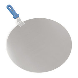 Paderno World Cuisine - 12-1/2-in. Aluminum Pizza Spatula with Short Handle - This Paderno World Cuisine 12.5-in. aluminum pizza spatula with short handle makes slipping or pulling pizzas and baked loaves out of the oven easy. It also helps maintain a clean oven. The short handle makes maneuvering the pizza or bread easier, however it allows less proximity to the oven.
