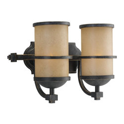 Sea Gull Lighting - Sea Gull Lighting 44521-845 Two Light Wall/Bath FixtureRoslyn Collection - Two Light Bath Bar in Flemish Bronze Finish with Creme Parchment Glass Shades with Flemish Bronze Bands