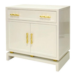 Worlds Away - Worlds Away Marcus Lacquer Cabinet White With Gold Handles - You'll find this white lacquered cabinet makes the perfect nightstand, with plenty of storage space in its top drawer and room underneath in the cabinet for everything else. Gold bamboo-inspired hardware ensures the form is as expertly handled as the function.