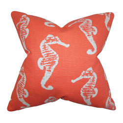 """The Pillow Collection - Jolyon Coastal Pillow Orange - Lend a casual vibe to your home with this playful toss pillow. This accent piece features a fun seahorse pattern in shades of white and coral. This 18"""" pillow is light-hearted and trendy making it a great statement piece. Made of 100% high-quality cotton fabric and crafted in the USA."""