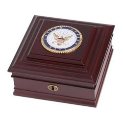 Flags Connections - U.S. Navy Medallion Desktop Box - U.S. Navy Medallion Desktop Box is made from Mahogany colored wood, and the outside dimensions measure 8-Inches by 8-Inches by 4-Inches. The desktop box features a brass lock and key, as well as a felt-lined interior and padded bottom to prevent scratches. The U.S. Navy Medallion Desktop Box is the perfect gift for an individual who is serving, or has served in the U.S. Navy.