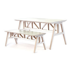"""Context Furniture - Truss 2 Piece A - Frame Table and Bench Set - Please note: this product is Made to Order. This item is non-cancellable and non-returnable. All sales are final. The Truss series is an ingenious knock-down series of durable birch ply plastic laminate top furniture. Manufactured in Michigan, the Truss series provides an affordable, attractive and quality alternative to the expensive design offerings from other companies insisting on Chinese manufacturers. An excellent choice for contract or residential use. Available in a variety of colors. Features: -Birch multi-ply and plastic laminate. -Dimensions of Table: 28"""" H x 29"""" W x 55"""" D. -Dimensions of Bench: 47"""" H x 17"""" W x 17.5"""" D."""
