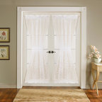 Lush Decor - Lush Decor Ivory 72-inch Duke Garden Door Panels (Set of 2) - There is nothing quite so delicate as light streaming thru a beautifully made sheer panels. This set of Duke Garden decorative door panels is made from hand-constructed polyester-blend fabric,with elegant floral flocking detailing.