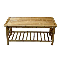 Bamboo54 - Bamboo Coffee Table - Rectangular bamboo coffee table is reminiscent of Eastern design style. Rugged coffee table lasts longer & retains natural finish when used indoors. Smooth, interesting rectangular tabletop is created with real bamboo slats. Bamboo rods aligned parallel to each other make lower storage shelf. Alluring quality of natural bamboo finish shows forth on large tabletop. * Knockdown, Bamboo coffee table. Made of Bamboo. Some assembly required. 42 in. L x 23.5 in. W x 18 in. H
