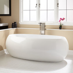 "70"" Olivia Oval Acrylic Freestanding Tub - The Olivia freestanding bathtub has a versatile shape that goes well with traditional and modern homes. Pair this oval tub with the freestanding tub filler of your choice to achieve a designer look."