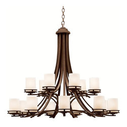 """KICHLER - KICHLER 1675OZ Hendrik Transitional Chandelier - Named after renowned Dutch architect, Hendrik Berlage, the Hendrik Collection is a gorgeous family of contemporary fixtures that honor the man who was regarded by many as the """"Father of Modern architecture"""". Much like Berlage himself, The Hendrik Collection is regarded as an intermediary between modern and traditional styles. Classic lines are enhanced with a soft touch of current style cues to work in a number of aesthetic environments. The warm hue of our Olde Bronze finish is partnered with light umber etched glass for a fantastic balance of natural color. This large 15-light, 2-tiered Hendrik Chandelier uses 75-watt (max.) bulbs. This fixture must be supported independently of the outlet box unless the outlet box is U.L. listed for the weight to be supported."""