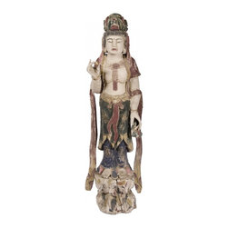 """Quan Yin - Vintage Prewar Quan Yin, also known as Kwan Yin or Quan Shi Yin goddess of compassion in Indian Buddhism and was introduced to China during the third century. Made of Polychrome, 11""""w x 8""""d x 40.5""""h"""
