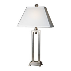 Uttermost - Conrad Silver Table Lamp - Masterfully sculpted into a perfectly balanced modern geometric design, this silver-plated table lamp will light your room with refinement. Artisan touches like the hand-applied antiqued stain on the base and the hand-sewn fabric shade make this piece ultrasophisticated.