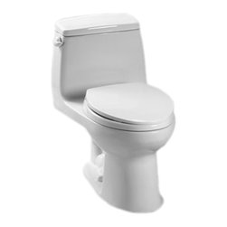 Toto - Toto MS854114E#01 Cotton White Eco UltraMax Toilet, 1.28 GPF - The UltraMax collection gives your bath a modern, tapered design flow and classically simple style.