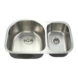 "Kraus - Kraus 30"" Undermount 60/40 Double Bowl 16 Gauge Stainless Steel Sink Combo Set - Add an elegant touch to your kitchen with a unique andversatile undermount sink from Kraus"