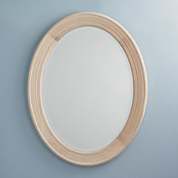 Oval Pickled Wood Mirror -