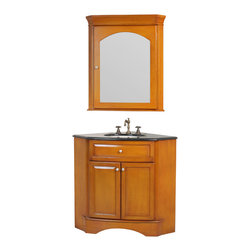 "Stufurhome - 28"" Marcia Single Sink Vanity with Black Galaxy Granite Top and Mirror - Classic single sink vanity"