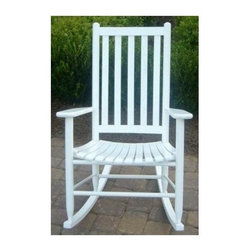 Dixie Seating - Slat Seat Adult Rocking Chair (Black) - Finish: BlackA contoured slat seat and ladder style back make this classic rocking chair a timeless choice for your indoor or outdoor decor. Perfect on a front porch or patio, the rocker is crafted of solid ash and is available in your choice of different finish options. Classic indoor and outdoor standard adult slat porch rocking chair. Made of solid ash hardwood. Made in the USA. Pictured in White finish. Ready to assemble format. Minimum assembly required. Underside is unsanded. 25 in. W x 19 in. D x 40 in. H