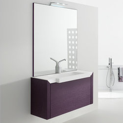 Azzurra - Azzurra | Azzurra Made 19 Vanity Set - Made in Italy by Azzurra.A part of the Made Collection. The simple yet striking Azzurra Made 19 Vanity Set will quickly enhance your bathroom experience. The single vanity creates convenient solutions in your bath space by including one oversized drawer with an ergonomic handle for easy access, and a vertically-hung mirror providing reliable crystal clear reflections. For extra illumination, include an optional LED lamp attached elegantly above the mirror where light is needed the most. The one deep drawer is equipped with the latest in Blumotion technology for full-length drawer access and silent drawer closure with each use. Product Features: