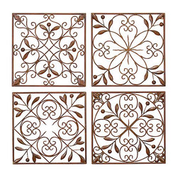 UMA - Artisan Scroll Wrought Iron Wall Grilles Set of 4 - Four wall grilles in identical sizes, each feature a different pattern of scrolls, patterns and tender leaves