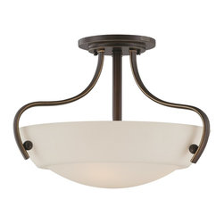 Quoizel - Quoizel CY1718PN Chantilly Transitional Semi Flush Mount Ceiling Light - This is a great soft contemporary design that will blend with most design styles.  The opal etched glass softly diffuses the light but still allows for maximum light output.  The classic Palladian Bronze finish accentuates the graceful curves of the fixtures.