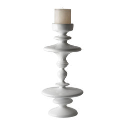 White Aluminum Pillar Holder - Placed against a painted wall, let the White Aluminum Pillar Holder entertain both the positive and negative spaces. Top it with a natural colored pillar candle it will add a touch of bold confidence to any room.
