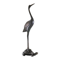 Kathy Kuo Home - Crane Resting on Turtle Carved Iron Door Stop - Ah… Here's to life in the slow lane.  The grace of a crane and the sweet, slow charm of a turtle come together to form this wildly charming metal sculpture, perfect for contemporary and Asian influenced spaces.