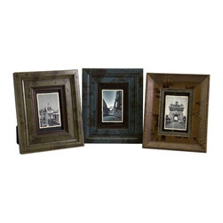 """IMAX CORPORATION - Madelyn 4 x 6 Wood Frames - Set of 3 - A classic set of three 4 x 6 photo frames are made of wood and feature teal, olive and brown painted finishes. Set of 3 in various sizes measuring around 23.5""""L x 10""""W x 22""""H each. Shop home furnishings, decor, and accessories from Posh Urban Furnishings. Beautiful, stylish furniture and decor that will brighten your home instantly. Shop modern, traditional, vintage, and world designs."""