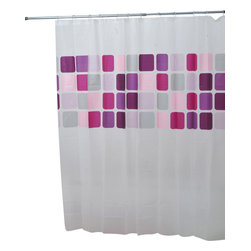 Printed Shower Curtain Mosaic Peva Parma - This printed shower curtain Mosaic for bathrooms is in Peva (75 % Eva and 25 % polyethylene). It is transparent with colored square patterns and is equipped with 12 strengthened eyelets for hanging (12 shower rings needed, sold separately). It will fit perfectly in your shower or bathtub. Prior to hanging, immerse curtain in a bath of warm water to help remove creases. Clean with soapy water only. Width 71-Inch and height 71-Inch. Color pink and Parma. This shower curtain is perfect to add a decorative touch in your bathroom! Complete your Mosaic decoration with other products of the same collection. Imported.