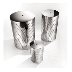 WS Bath Collections - Basket Waste Basket in Stainless Steel w Lid - Choose Size: 7.9 Dia. x 14.6 in. HMade by Lineabeta of Italy. Product Material: Stainless Steel. Finish/Color: Silver. Dimensions: 7.9 in. Diameter x 14.6 in. H