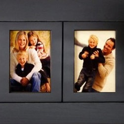 "MyBarnwoodFrames - 4 Opening 4 x 6 Collage Picture Frames Wood 4 Frame Openings - 4 opening collage picture frame with 4x6 inch openings. Solid wood, available in several colors. Hanging hardware and glass are included, and this frame can be displayed horizontally or vertically.   Each of our collage frames is built to last a lifetime. This beautiful black painted frame holds four 4x6 photos. Our 4-opening multi picture frames are made of solid hardwood, painted black with distressed edges. Your collage frame will provide the perfect setting for favorite pictures of friends, family and events. Measuring 11""H x 26""W x .75""D overall with a frame width of 2.75 inches, these frames are a beautiful addition to any decor. Each frame is made in the USA and includes glass, backing and hanging hardware. Can be hung horizontally or vertically. Hand distressed edges. Also available in other ""custom"" colors.   Please Note: Black wood frames are typically in stock. Other colors may take up to a week to manufacture. Please allow 2-3 weeks for shipping of painted frames in colors other than black."
