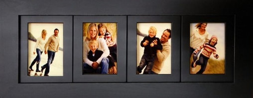 """MyBarnwoodFrames - 4 Opening 4 x 6 Collage Picture Frames Wood 4 Frame Openings - 4 opening collage picture frame with 4x6 inch openings. Solid wood, available in several colors. Hanging hardware and glass are included, and this frame can be displayed horizontally or vertically.   Each of our collage frames is built to last a lifetime. This beautiful black painted frame holds four 4x6 photos. Our 4-opening multi picture frames are made of solid hardwood, painted black with distressed edges. Your collage frame will provide the perfect setting for favorite pictures of friends, family and events. Measuring 11""""H x 26""""W x .75""""D overall with a frame width of 2.75 inches, these frames are a beautiful addition to any decor. Each frame is made in the USA and includes glass, backing and hanging hardware. Can be hung horizontally or vertically. Hand distressed edges. Also available in other """"custom"""" colors.   Please Note: Black wood frames are typically in stock. Other colors may take up to a week to manufacture. Please allow 2-3 weeks for shipping of painted frames in colors other than black."""