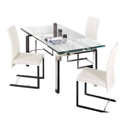 Creative Furniture - Stark Extendable Dining Table - Smooth operating extensions allow to accomodate even the largest family with ease. The table has ultra modern design with sharp-looking profile, chromed steel legs, and 1.5 mm glass top. Creative Furniture offers the best for your modern dining room.    The price is for the Table only.    Features: