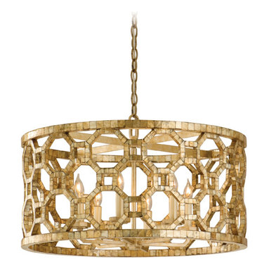Regatta Chandelier by Corbett Lighting - Regatta chandelier features genuine smoked capiz shell mosaic on stained silver leaf frame. Available in pendant, chandelier and wall sconce version. Six 60 watt, 120 volt, B10 candelabra lamps not included. General light distribution. UL listed. 25W x 14.25H.