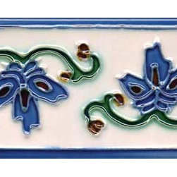 "Glass Tile Oasis - Invierno 3"" x 6"" Blue 3"" x 6"" Deco Tiles Glossy Ceramic - All ceramic tiles are hand painted. Glazed thickness will vary from tile to tile, resulting in color variation. Hand-Painted Ceramic tiles will craze and crackle over time, which is intentional and a desired effect."