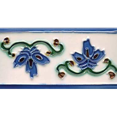 """Glass Tile Oasis - Invierno 3"""" x 6"""" Blue 3"""" x 6"""" Deco Tiles Glossy Ceramic - All ceramic tiles are hand painted. Glazed thickness will vary from tile to tile, resulting in color variation. Hand-Painted Ceramic tiles will craze and crackle over time, which is intentional and a desired effect."""