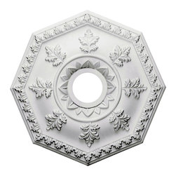 """Ekena Millwork - 18""""OD x 3 1/2""""ID x 1 1/2""""P Nottingham Ceiling Medallion - Our ceiling medallion collections are modeled after original historical patterns and designs. Our artisans then hand carve an original piece. Being hand carved each piece is richly detailed with deep relief, sharp lines, and a truly unique touch. That master piece is then used to create a mould master. Once the mould master is created we use our high density urethane foam to form each medallion.  The finished look is a beautifully detailed, light weight, solid construction, focal piece. The resemblance to original plaster medallions is achieved only by using our high density urethane and not vacuum formed, """"plastic"""" type medallions.  - Medallions can be cut using standard woodworking tools to add a hole for electrical or a ceiling fan canopy. - Medallions are light weight for easy installation. - They are fully primed and ready for your paint.  If you have any questions feel free to ask. These are in stock and available for immediate shipment."""