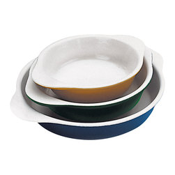 Paderno World Cuisine - Chasseur 3/4 Quart Enamel Cast-Iron Round Dish, Blue - These enamel dishes are most commonly used for creating gratin, macaroni and cheese, creme brulee and egg dishes. They are ovenproof, dishwasher safe and compatible with all types of stovetops, including induction. All dishes are constructed from one uniform piece with easy to grip lipped handles. Note that all dimensions are interior and do not include handles or thickness of the material.