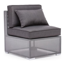 ZUO - Clear Water Bay Middle Chair - Unique gauzy frame grounded by sturdy gray cushions will transform any outdoor space. Versatile and lovely, the Clear Water Bay series boasts a durable aluminum frame and water resistant cushions. Pieces sold separately.
