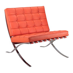 Catalan Chair in Orange - Nothing says Bauhaus more than this luxurious leather chair. Upholstered with 100% Italian leather and perched atop brushed stainless steel legs, this chair is the ultimate in elegant style. The cushion is soft and comfortable. Inspired by an original iconic Bauhaus design, the chair features beautiful clean lines.