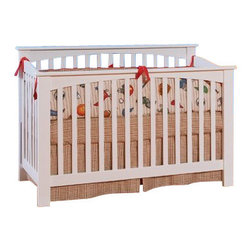 Atlantic Furniture - Atlantic Furniture Columbia Convertible Crib in a White Finish - Atlantic Furniture - Cribs - J98302 - Designed to adapt to the needs of a growing child Atlantic cribs convert from a crib to a day bed and then a full size bed. All cribs are manufactured with solid Eco-Friendly hardwood. Steel fasteners and solid hardwood construction exceeds industry standards for safety. Mortise and tennon side panel construction provides unsurpassed strength and durability. Our five step finishing process is non-toxic and lead free. Each crib has a 5 position adjustable mattress support system and converts to a full size bed with the addition of a bolt on metal bed frame.