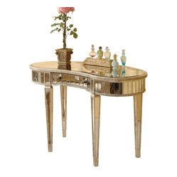 Bassett Mirror - Borghese Vanity Desk - This gorgeous vanity desk is a nod to Italian-inspired nobility. A shining star in your living room or bedroom, it features a brilliant surface with a curved center drawer, all supported by sleek, tapered legs.