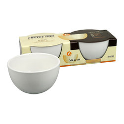 Konitz - Café au Lait Bowls, Set of 2 - These sweet white porcelain Café au Lait bowls are a French classic. There's something so nurturing about cupping the bowl with both hands to sip your coffee, hot chocolate or chai. The bowl is a generous 20-ounces and wide enough to easily dip your biscotti or pastry.